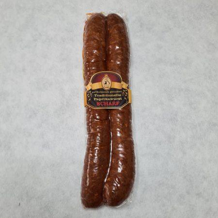 Geräucherter Paprikawurst, scharf, ein Paar, vakuumverpackt, ca. 360 gr