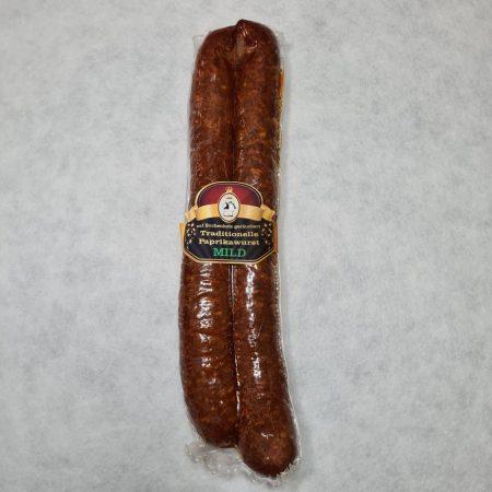 Füstölt paprikás kolbász csemege, 1 pár, vákumcsomagolt, kb. 320 gr