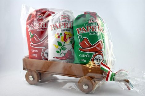 Wagen mit gemischter (mild und scharf) Paprika, gemahlen, 3x100 gr
