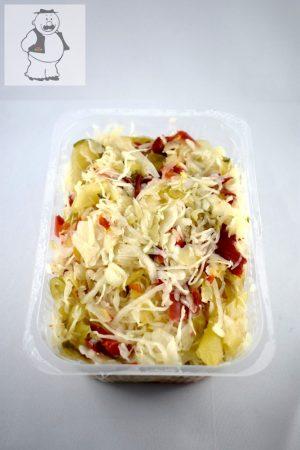 Eingelegtes, geschnittenes Kraut mit Gemüse, mittelscharf 500 gr